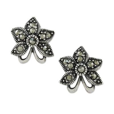 Sterling Silver Orchid Flower Earrings with Marcasite