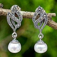 Cultured pearl and marcasite dangle earrings, 'Sweet Breeze' - White Pearl and Marcasite on 925 Sterling Silver Earrings