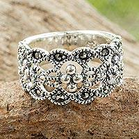Marcasite band ring, 'Antique Contempo' - Classic Thai Style Marcasite on Sterling Silver Band Ring