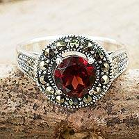 Garnet single stone ring, 'Contemporary Belle'