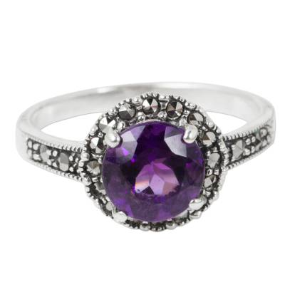 Amethyst single stone ring, 'Contemporary Belle' - Amethyst and Marcasite Sterling Silver Ring Artisan Jewelry