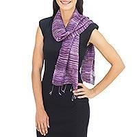 Raw silk scarf, 'Horizons in Purple' - Women's Striped Raw Silk Scarf in Mixed Purple Shades