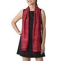 Raw silk scarf, 'Horizons in Cerise' - Hand Woven Bark Silk Scarf in Cerise and Black Stripes