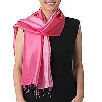 Rayon and silk blend scarf, 'Shimmering Rose' - Light and Dark Pink Scarf in Rayon and Silk Blend