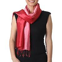 Rayon and silk blend scarf, 'Shimmering Orchid' - 2-tone Pink Red Scarf in Shimmering Rayon and Silk Blend
