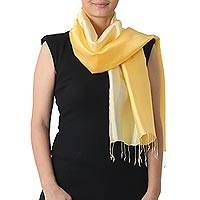 Rayon and silk blend scarf, 'Shimmering Daffodil' - Light and Dark Yellow Scarf in Rayon and Silk Blend