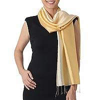 Rayon and silk blend scarf, 'Shimmering Primrose' - Shimmering Rayon and Silk Blend Scarf in 2-tone Yellow Brown