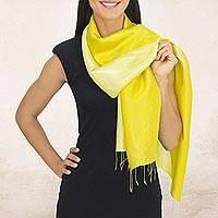 Rayon and silk blend scarf, 'Shimmering Lemon'