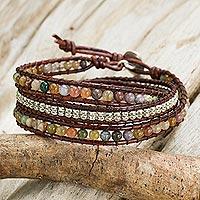 Jasper wrap bracelet, 'Colorful Enigma'