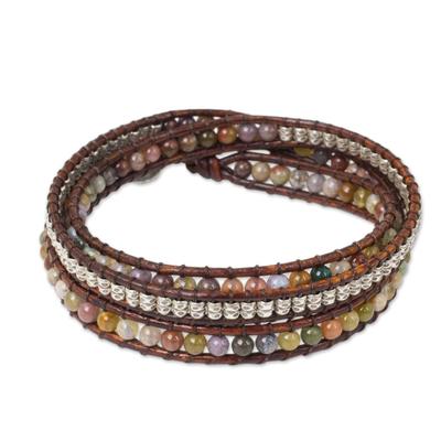 Jasper wrap bracelet, 'Colorful Enigma' - Jasper and 950 Silver Wrap Style Bracelet from Thailand
