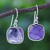 Amethyst dangle earrings, 'Lavender Breeze' - Handcrafted Sterling Silver and Faceted Amethyst Earrings