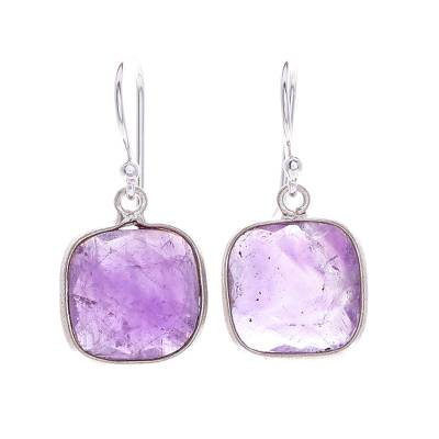 Handcrafted Sterling Silver and Faceted Amethyst Earrings