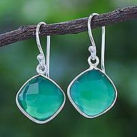 Onyx dangle earrings, 'Verdant Moon' - Thai Handcrafted Sterling Silver and Green Onyx Earrings