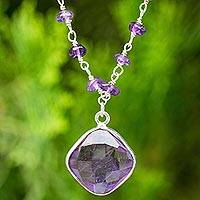 Amethyst pendant necklace, 'Lavender Breeze'