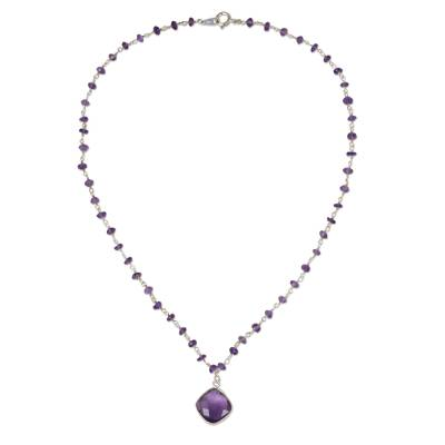 Amethyst pendant necklace, 'Lavender Breeze' - Handcrafted Faceted Amethyst and Sterling Silver Necklace