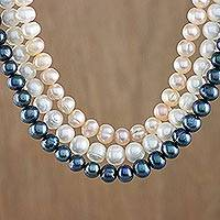 Cultured pearl strand necklace, 'Pastel Halo' - Triple Strand Tri Color Cultured Pearl Matinee Length Neckla