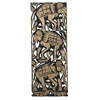 Teakwood wall panel, 'Elephant Parade I' - Elephants on Hand Carved Thai Teakwood Wall Panel