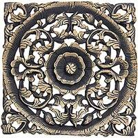 Teak wall panel, 'Floral Symmetry' - Hand Carved Teakwood Floral Wall Panel from Thailand