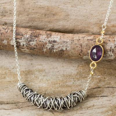 Gold accent amethyst pendant necklace, 'Karen Cocoon' - Hill Tribe Silver Necklace with Amethyst and Gold Accents