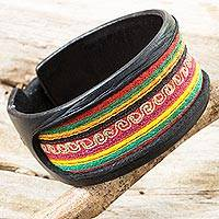 Leather and cotton wristband bracelet, 'Hill Tribe Celebration' - Black Leather Bracelet with Thai Hill Tribe Embroidery