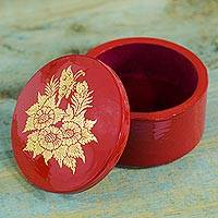 Lacquer wood jewelry box, 'Floral Butterfly' - Red Wooden Jewelry Box with Golden Butterfly and Flowers