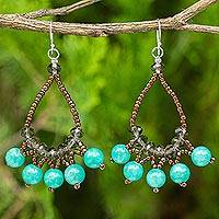 Beaded earrings, 'Green Harmony' - Thai Beaded Jewelry Earrings with Quartz and Glass Beads