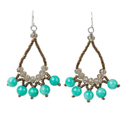 Thai Beaded Jewelry Earrings with Quartz and Glass Beads