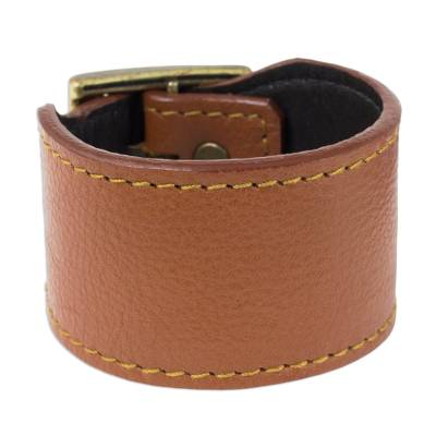 Thai Handcrafted Chunky Brown Leather Wristband