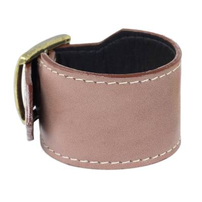 Thai Handcrafted Leather Wristband in Grey-Brown