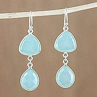 Chalcedony dangle earrings, 'Aurora Rain' - Hand Crafted Thai Silver and Chalcedony Dangle Earrings