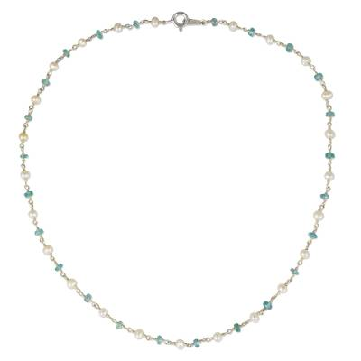 Cultured pearl and apatite strand necklace, 'Luminous Morn' - Thai White Pearl and Silver Strand Necklace with Apatite