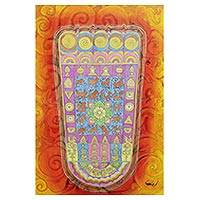 'Buddha's Radiant Footprint' - Buddhism Theme Footprint Painting in Warm Colors