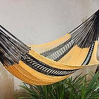 Cotton rope hammock, 'True Relaxation' (double) - Hand Crafted Rope Style Hammock in Yellow and Black (Double)