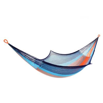 Rope hammock, 'Sweet Relaxation' (double) - Rope Style Acrylic Hammock in Orange and Blue (Double)