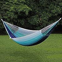 Rope hammock, 'Sublime Relaxation' (triple) - Sturdy Blue Rope Hammock Hand Woven in Thailand (Triple)