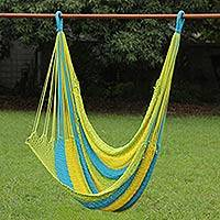 Cotton rope hammock swing, 'Let's Relax' - Colorful Single Cotton Rope Hammock Swing Chair