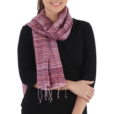 Silk scarf, 'Crimson Iridescence' - Hand Spun Hand Dyed and Handwoven Thai Silk Artisan Scarf in