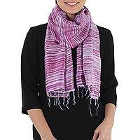 Silk scarf, 'Purple Lilac Iridescence' - Hand Woven Lilac Purple and Pink 100% Silk Scarf