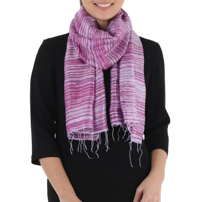 Silk scarf, 'Purple Lilac Iridescence' - Hand Spun Hand Dyed and Handwoven Thai Silk Artisan Scarf in