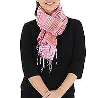 Silk scarf, 'Rose Iridescence' - Thai Hand Woven Pink and Brown 100% Silk Scarf
