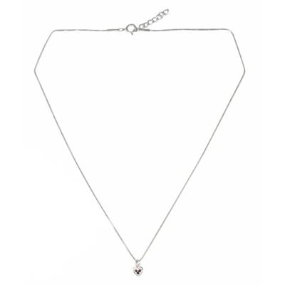 Garnet pendant necklace, 'Heart's Treasure' - Heart Shaped Pendant Necklace with Three Garnets