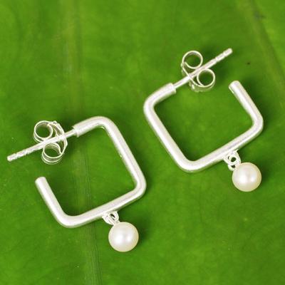 Cultured pearl half-hoop earrings, 'Femininity Squared' - Cultured Pearl and Brushed Satin Silver Half Hoop Earrings
