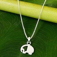 Sterling silver pendant necklace, 'Elephant Revealed' - Brushed Satin Elephant Pendant Necklace in Sterling Silver