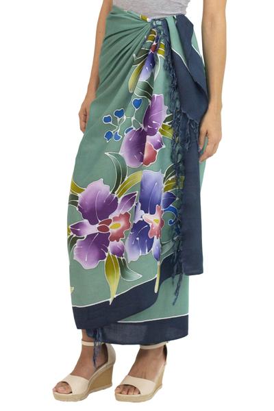 Rayon batik sarong, 'Thai Summer' - Artisan Crafted Rayon Floral Green and Dark Teal Sarong