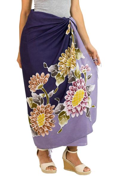 Rayon batik sarong, 'Thai Asters' - Hand Crafted Purple Rayon Sarong with Floral Motif