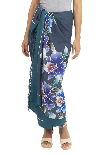 Artisan Crafted Rayon Sarong from Thailand with Floral Motif
