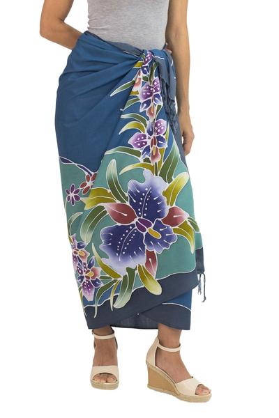 Rayon batik sarong, 'Grand Cattleya' - Hand Crafted Blue Rayon Sarong with Orchid Motif