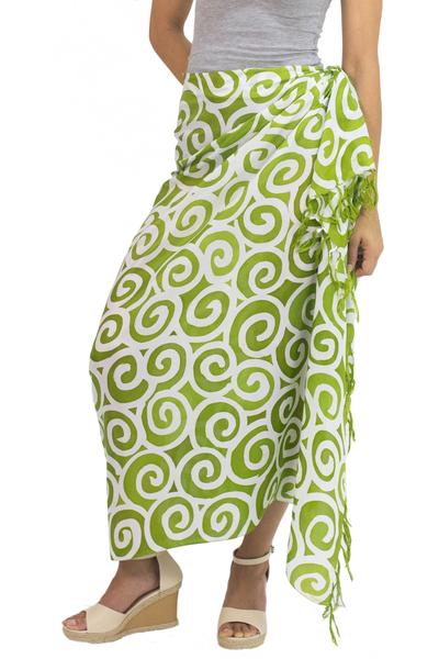 Silk batik sarong, 'Lime Spiral' - Handcrafted Thai Silk Batik Sarong in Green and White