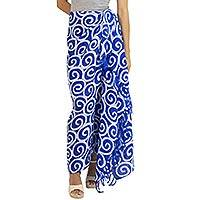 Silk batik sarong, 'Blueberry Spiral' - Artisan Crafted Thai Silk Batik Sarong in Blue