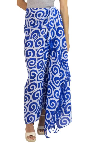 Silk batik sarong, 'Blueberry Spiral' - Artisan Crafted Thai Silk Batik Sarong in Blue